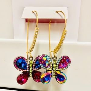 🦋 Crystal Butterfly Drop Earrings Betsey Johnson